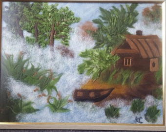 "Wool picture ""House in the forest"" is made in the technique of wool painting"