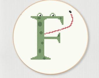 Cross stitch letter F Frog pattern, instant digital download