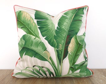 Banana leaf pillow case 20x20 Hollywood Regency Decor, tropical outdoor cushion case, swaying palm outdoor pillow case green and coral decor