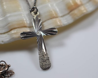 Etched Silver Cross Pendant on Silver Chain Necklace Styel 3