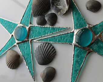 Teal Sea Anemone Star- Stained Glass- 9 inches