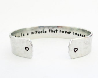 Inspirational Secret Message Cuff Bracelet, Quote Jewelry, Graduation Gift, A daughter is a miracle... Custom Stamped Cuff Bracelet