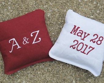 Personalized Wedding Cornhole Game Bags - Initials and Date - Set of 8 Shown in Burgundy and White
