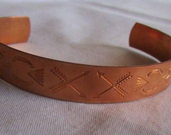 Copper Cuff Bracelet with Southwest Design