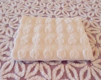 """Vintage Chenille white flat coin popcorn fabric piece, 18"""" x 24"""" - 300-99"""