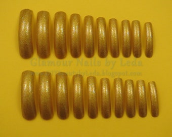 20 Full Well Extra Long Tapered Nails Precious All Nighter Gold Nails