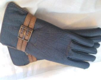 Vintage Faux Leather Gloves, Faux Fur Lined Gloves, Brown and Black Buckle Gloves, Vintage Winter Gloves, Van Raalte Gloves