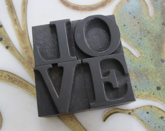 LOVE Letterpress Wood Type Printers Blocks