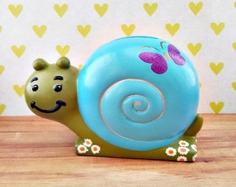 Blue Snail Piggy Bank with Purple Butterfly, Snail Piggy Bank, Blue Snail Piggy Bank, Piggy Bank, Baby Shower Gift, Baby Gift, Nursery Decor