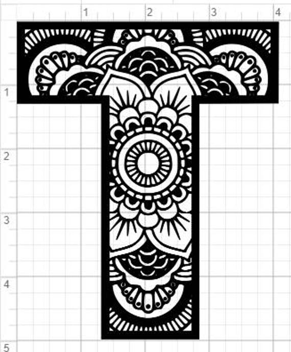 Mandala Alphabet Letter T Design SVG PDF Eps Dxf & Studio 3