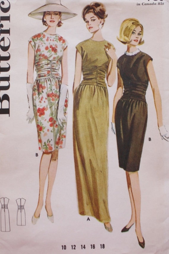 1960s Evening Gown Dress Pattern Butterick 2970 Vintage