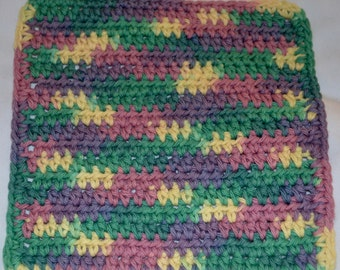 Crocheted Dishcloths Purple, Yellow, Green and Pink
