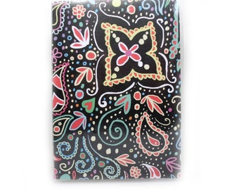 Passport Cover - Chalkboard Doodle - neon brights - mehndi inspired paisley passport holder - travel accessory