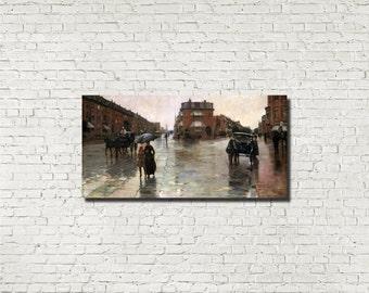 Frederick Childe Hassam, Old Masters Fine Art Print : Rainy Day, Boston, Classical Art, Urban Landscape