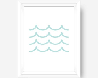 Blue Waves Print, Printable Wall Art, Ocean Print, Digital Prints, Wave Print, Wave Wall Art