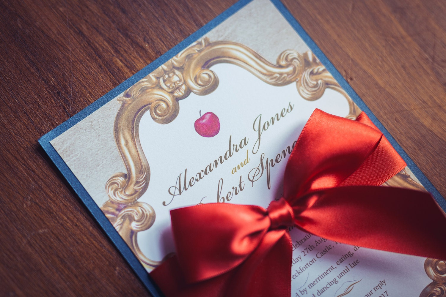 Wedding Invitation inspired by Snow White Fairytale in gold