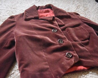 1930s Handsewn Velvet and Silk Cropped Jacket