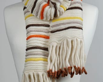 Cream Stripe Lambswool Scarf