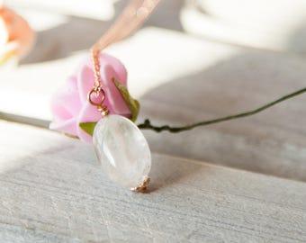 White Quartz Pendant, Protection Gift for Her, Protection Pendant, White Quartz Rose Gold Necklace, Oval Quartz Necklace, Rose Gold Quartz