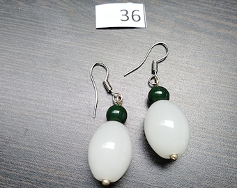 White with Green Accent Earrings