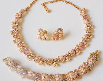 Vintage Coro Jewelry Set/ Vintage Demi Parure/ Rhinestone Jewelry/ Vintage Jewelry/ Costume Jewelry/ 50s Jewelry/ Enamel Jewelry, Coro