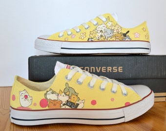 Custom Hand Painted Converse Shoes cute Japanese, tsumineko , kawaii cats