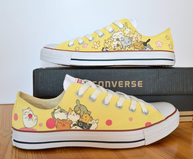 Custom Hand Painted Converse Shoes cute Japanese tsumineko