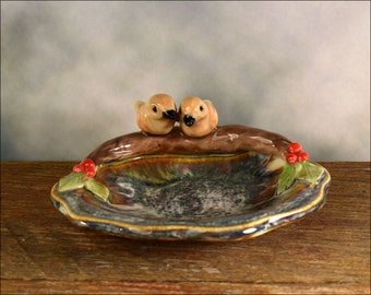Ceramic bird dish, hand crafted Australian pottery / ring dish / teabag holder / trinket dish
