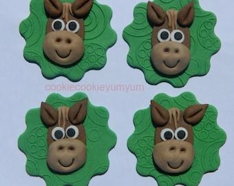 12 edible HORSE HEAD on textured DISCS farm animal pony racing cupcake cake topper decorations wedding anniversary birthday
