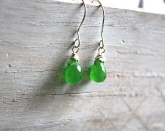 Green  Gemstone Earrings  - Silver Drop Earrings - Briollete Gemstone Jewelry -