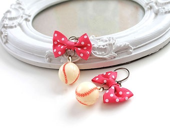 Kawaii baseball ball  earrings with bow lolita sweet fairy kei retro vintage