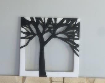 tree kirigami on canvas
