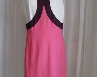 Color-block frock, 1960s vintage mod pink shift, princess-seam dress, USA, size medium