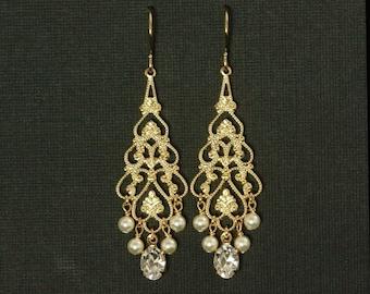 Gold Chandelier Bridal Earrings -- Pearl Chandelier Earrings, Wedding Earrings, Vintage Bridal, Rhinestones, Pearls -- GRAND ENTRANCE