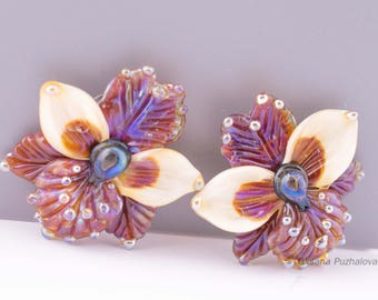 Glass orchid bead, Lampwork flower beads, Orchid flower, Lampwork orchid bead, jewelry making Lampwork fuse beads, handmade glass beads