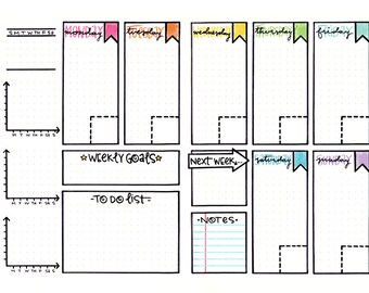 Colorable Weekly Spread Bullet Journal Calendar Page Download