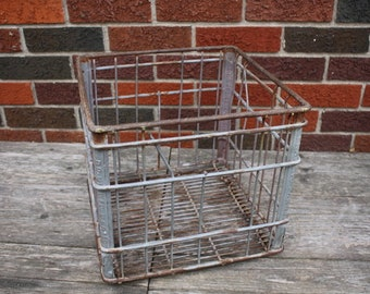 Vintage Metal Milk Bottle Crate - item #2894