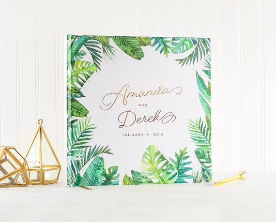 Wedding Guest Book Gold Foil botanical wedding guestbook personalized wedding photo book palm tree beach sign in book gold photo guest book
