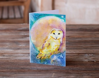 Greeting Animal Greeting Card / Birthday Card / Special Occasion/ anniversary / Owl art / gift for her/ Notecard/ card/ owl card/ moon art/
