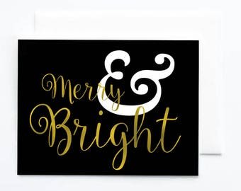 Merry & Bright Christmas Card / Holiday Greeting Card / Boxed Card Set