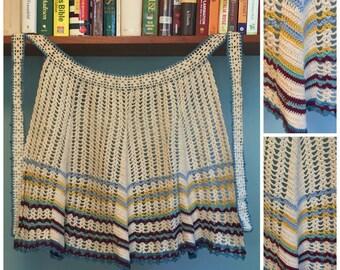 Vintage 1950's Crocheted Half Apron, Handmade.