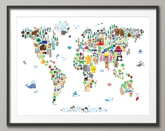 Animal Map of the World Map for children and kids, Art Print (61)