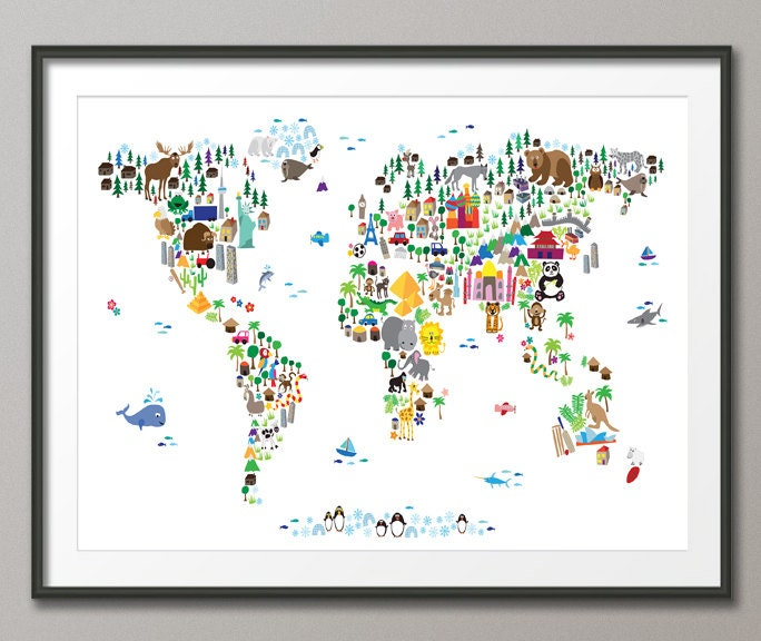 Animal map of the world map for children and kids art print zoom gumiabroncs Choice Image