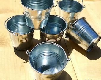 "Galvanized Pails - Set of 6 Metal Buckets - 2.75"" - Supplies"