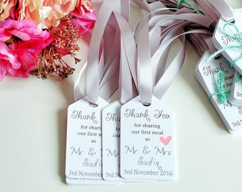 Wedding thank you tags, wedding first meal, thank you wedding cards, wedding sharing first meal tags