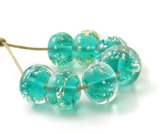Teal Lampwork Beads | Emerald Green Lampwork Glass Beads | Aqua Beads | UK SRA | Handmade Artisan Flameworked Glass