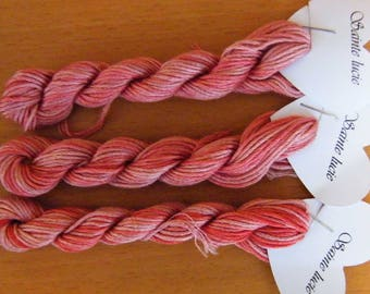 Sainte Lucie Hand Dyed variegated Stranded Cotton, by Fils à Soso. Each skein is 8 metres with 6 strands.  Pinks Tone on Tone. Thread.