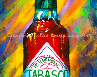 Awesome Sauce! Tabasco!  FREE SHIPPING! New Orleans Art Print, Tabasco Hot Sauce, Louisiana Hot Sauces, New Orleans Food, New Orleans Gift