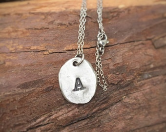 Hand stamped initial necklace - reclaimed pewter - hammered texture