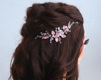 Pink crystal Hair vine-Crystal Weddind Hair Comb-Bridal Hair Vine -Wedding hair piece-Bridal headpiece-Wedding hair vine-Rose gold Hair Vine
